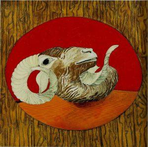 Carmassi: L'ariete. 1969, olio su tela, cm. 100x100