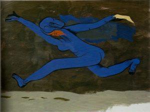 Orellana: El hombre azul, 1974, olio su tela, cm. 97x130