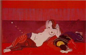 Josè Ortega, La siesta, 1972, tecnica mista su tavola, cm. 112x177; Giulianova (Te), collezione privata