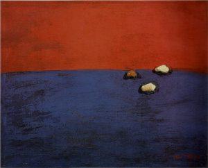 Ortega, Las islas. 1972, tecnica mista su tavola, cm. 30x35; Vasto (Ch), coll. Museo Civico d'Arte Moderna di Palazzo D'Avalos