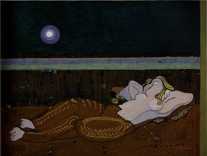 Ortega, Nocturno. 1972, tecnica mista su tavola, cm. 98x130; Giulianova (Te), collezione privata