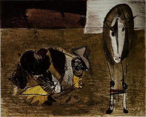 Ortega: Segador y burro. 1963, acquatinta, mm. 560x760