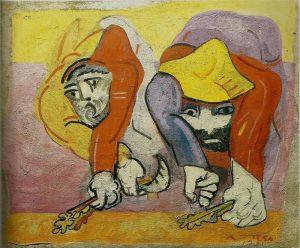 Ortega: Segadores. 1972, tecnica mista su tavola, cm. 98x130; Giulianova (Te), collezione privata