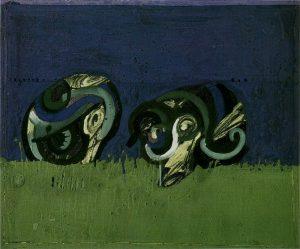 Ortega: Segadores de avena. 1970, tecnica mista su tela, cm. 54x65; Vasto (Ch), coll. Museo Civico d'Arte Moderna di Palazzo D'Avalos