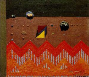 Josè Ortega - Campo de trigo - 1972, tecnica mista su tavola, cm. 30x35; Vasto (Ch), coll. Museo Civico d'Arte Moderna di Palazzo D'Avalos