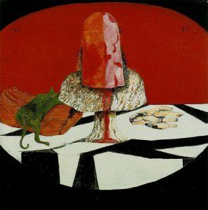 Carmassi, La tavola del poeta, 1969, olio su tela 100x100