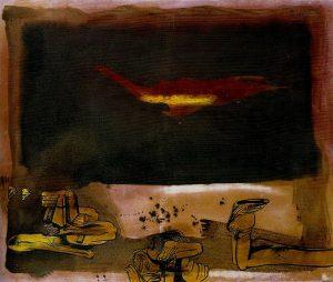 Orellana, Aguila amarilla, 1974, olio su tela, cm 100x120