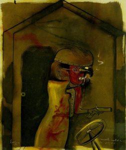 Orellana, Muerte vestida de pajaro, 1974, olio su tela 120x100