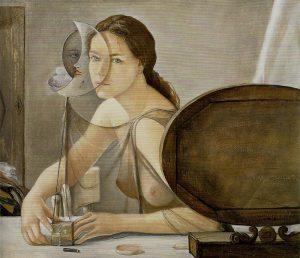 Claudio Bonichi La ragazza e la luna 1992 olio su tela 60x70