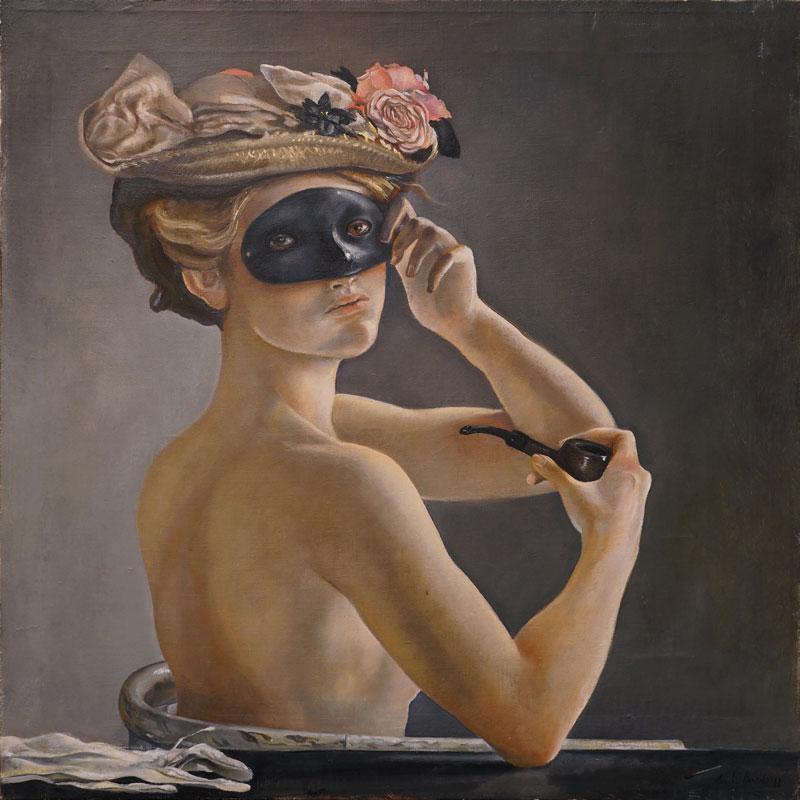 Claudio Bonichi, Le chapeau fleuri, 1988, olio su tela, cm 65x65