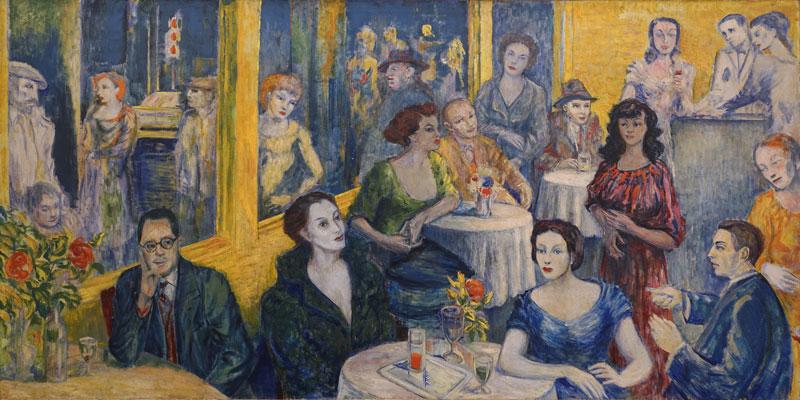 Aligi Sassu, Caffè San Babila, 1951, olio su tela, cm 100x200