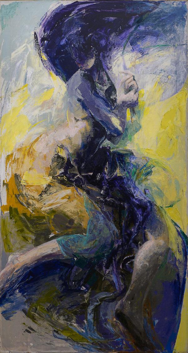 Ennio Calabria, Memoria rivisitata, 1991, olio su tela, cm 150x80