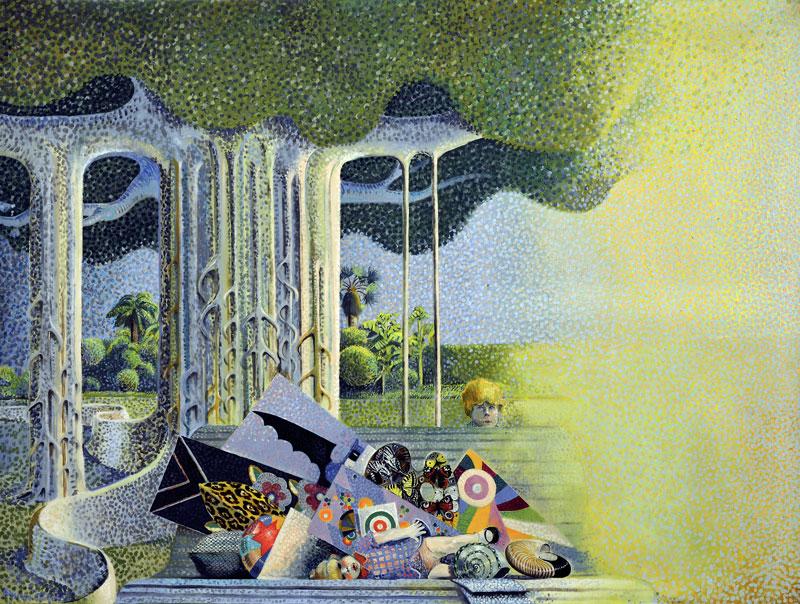 Bruno Caruso, Bagliore nel giardino, 1969, olio su tela, cm 120x159