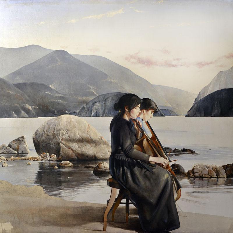 Gigino Falconi, Concerto silenzioso, 1991-92, olio e acrilico su tela, cm 180x180