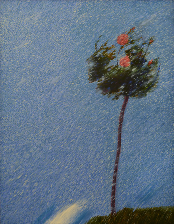 Ritch Miller, Agosto. Rosal, Chubasco repentino, 1982, olio su tela, cm 146x114