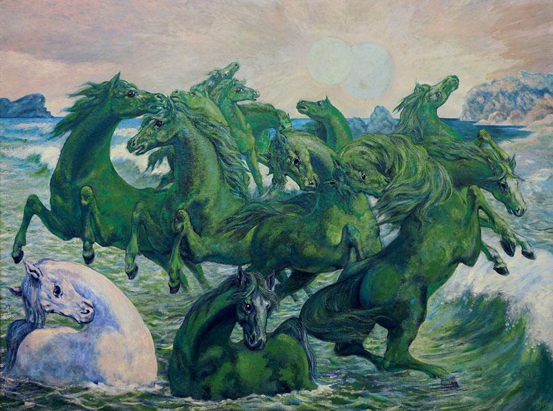 I due soli, 1963-72, olio su tela, cm 145x195