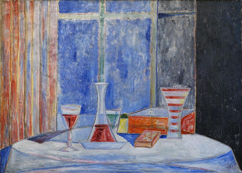 Il tavolo alla stazione, 1951, olio su tela, cm 50x70