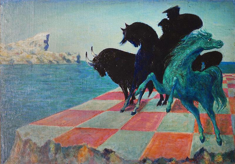 L'agitatore del freno e il cavallo verde, 1974, olio su tela, cm 53x75