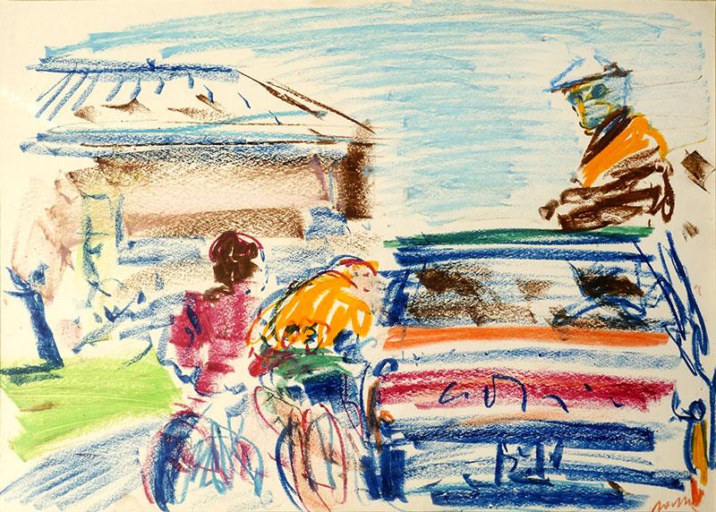 Torriani in corsa, 1967, pastelli ad olio, cm 25x35