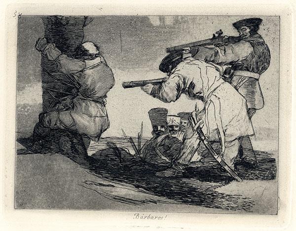 Francisco Goya, Bàrbaros! Tavola 38 de Los Desastres de la guerra, 1810-1814, acquaforte, cm 15.5x20