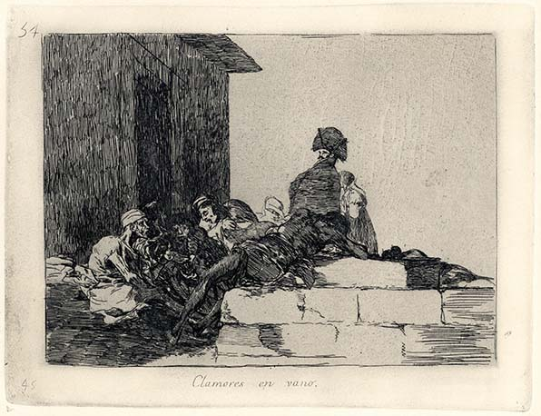 Francisco Goya, Clamores en vano, 1812-1814, acquaforte, cm 15,5x20