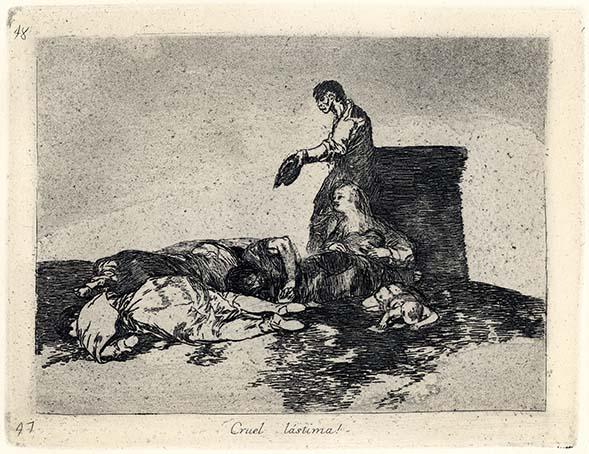 Francisco Goya, Cruel làstima!, 1812-1814, acquaforte, cm 15,5x20