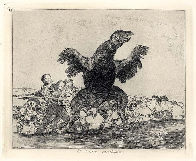 Francisco Goya, El buitre carnivoro, 1814-1815, acquaforte, cm 15,5x20
