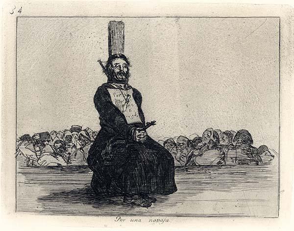 Francisco Goya, Por una navaja, 1810-1814, acquaforte, cm 15,5x20
