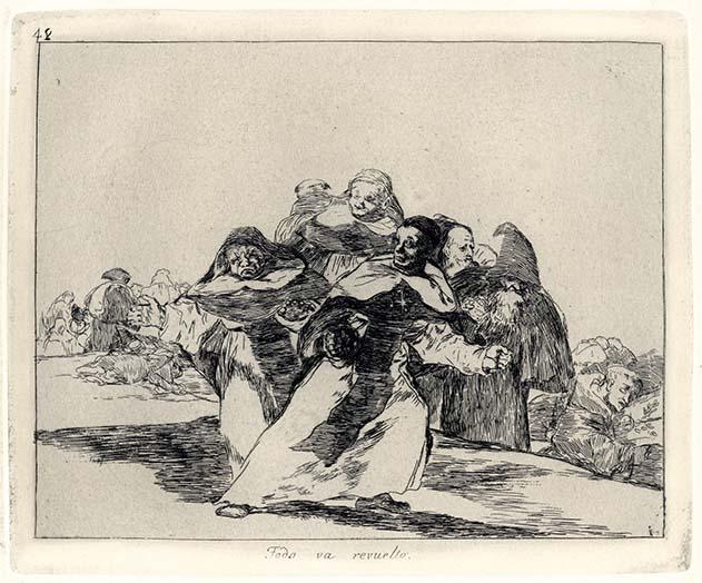 Francisco Goya, Todo va revuelto, 1810-1814, acquaforte, cm 15,5x20
