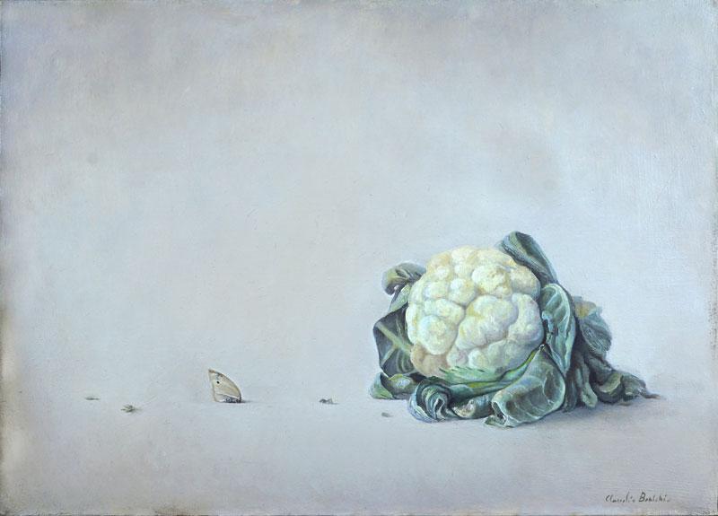 Claudio Bonichi, Cavolo e farfalla, 1984, olio su tela, cm 50x70