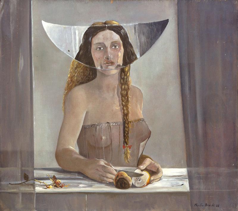 Claudio Bonichi, Eva e il suo doppio, 1988, olio su tavola, cm 59x66