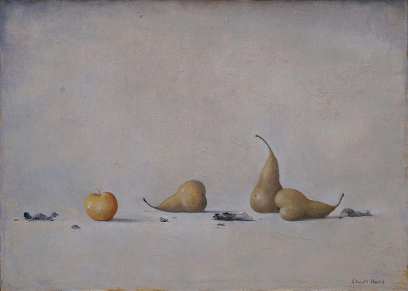 Claudio Bonichi, Frutta e ceneri, 1983, olio su tela, cm 50x70