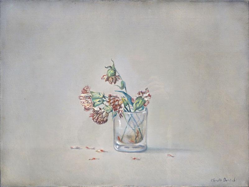 Claudio Bonichi, Garofani nel bicchiere, 1984, olio su tela, cm 46x61