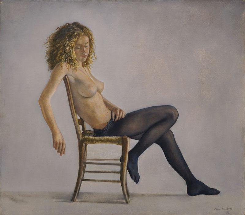 Claudio Bonichi, La calzamaglia nera: studio n.1, 1996, olio su tela, cm 70x80