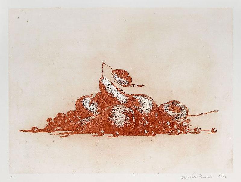 Claudio Bonichi, Natura morta, 1986, acquatinta, cm 51x70